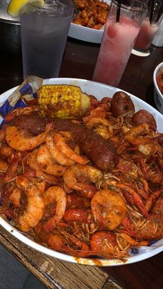 Cajun Shrimp with Corn, Sausage and Broiled Potatoes - Seafood Recipes Seafood Boil Recipes, Seafood Dishes, Cajun Seafood Boil, Seafood Boil Party, Crab Boil, Cajun Shrimp Recipes, Boiled Food, Food Goals, Aesthetic Food