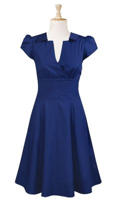 Surplice front stretch cotton satin dress