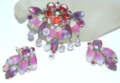 Coro Pink Rhinestone Brooch and Earrings (55.00 USD) by koolcatcollectibles