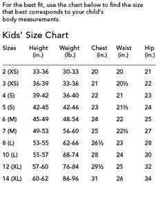 Childrens Size Chart