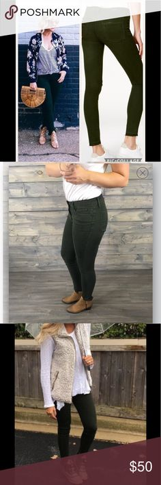 Articles of Society Stephanie Forest Green jeans EUC like new size 28 -very stretchy dark forest green with chewed hem Articles Of Society Jeans Skinny