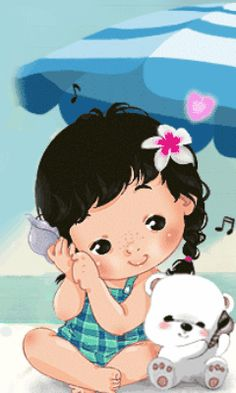 Download Animated 240x400 «baby in the beach» Cell Phone Wallpaper. Category: All for Girls