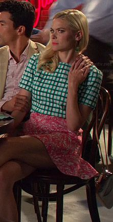 Lemon's green checked top and pink skirt on Hart of Dixie.  Outfit Details: http://wornontv.net/44086/ #HartofDixie