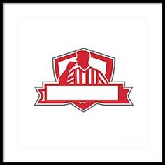 Referee Umpire Official Whistle Side Crest Retro Framed Print by Aloysius Patrimonio. Referee, Chevrolet Logo, Business Cards, Digital Art, Greeting Cards, Framed Prints, Wall Art, Retro, Artwork