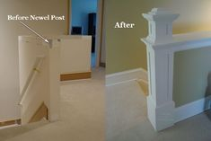 Adding a newel post to your half wall will give it a new, unique look.