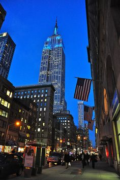 Blue Empire State Building. New York. [The ALL blue lighting honors 'The Fallen' Men in Blue!]