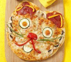 Pizza aux légumes facile en forme de chat