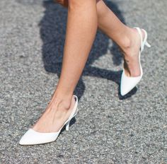 white sling backs for spring, with a moderate heel. Makes me feel like I'm going back to Jr High!