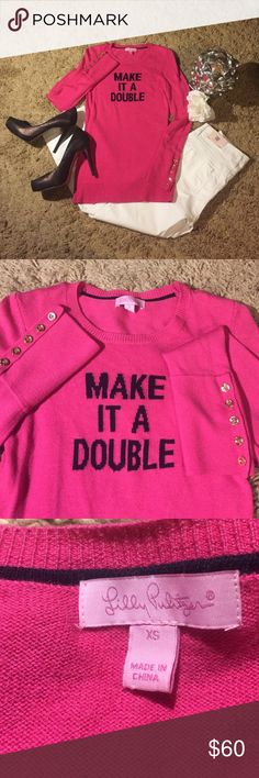"""Lilly Pulitzer Hot Pink """"Make It A Double"""" Sweater Waaay too cute!! Excellent condition! Gently worn. No rips, tears or stains. Long sleeve. 5 gold bottoms on the sleeves. Lilly Pulitzer Sweaters"""