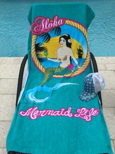 Mermaid Life Aloha oversized lux beach towel is perfect for any mermaid on the beach!
