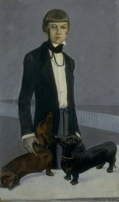"""Romaine Brooks, Una, Lady Troubridge, 1924 -- The tailored man's morning suit conceals her feminine figure, and her pose suggests absolute control; note how Troubridge grasps one of the dog's collars. Brooks intended the portrait to be a caricature of her friend as a headstrong, demanding woman, and noted in a letter that this was """"a sign of the age which may amuse future feminists."""""""