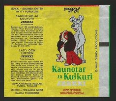 VINTAGE-1975-FINNISH-HELLAS-JENKKI-BUBBLE-GUM-WRAPPER-LADY-AND-THE-TRAMP
