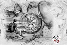 Kompass Reisen Wandern Tattoo Motive von der Tattoo Insel Leg Tattoos, Small Tattoos, Sleeve Tattoos, Cool Tattoos, Tattoo Motive, Custom Tattoo, Photoshop Design, Tattoo Models, Compass Tattoo
