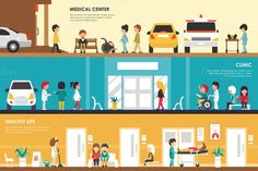 Medical Center vector illustration Graphics Medical Center, Clinic and Healthy Life flat hospital interior concept. Ambulance, Emergency, Labora by Palau Concept Web, Research Scientist, Interior Concept, Logo Food, Hand Illustration, Medical Center, Clinic, Healthy Life, Cool Designs