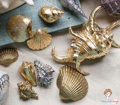 Atta Girl Says | Gilded Seashells: Two Ways | Gold Leaf & Gold Gilding - so pretty!