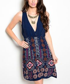 Loving this Blue Paisley V-Neck Fit & Flare Dress on #zulily! #zulilyfinds