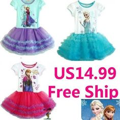 Baby Girls Disney Frozen Elsa Anna Princess Dress Children Kids Tutu Skirts 1-5T