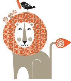 lion and bird, retro, kitch, kitsch, illustration