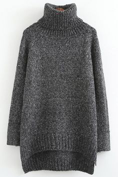 Turtle Neck High Low Slit Long Sleeve Sweater