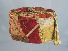 Handmade Smoking Cap - Lounging Hat - Crazy Patchwork Pure Silk Reds And Golds Plus Embroidery / Beads