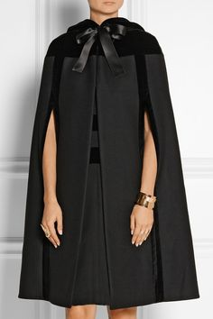 Hooded velvet-trimmed wool cape Alexander McQueen