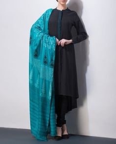 Black Suit with Printed Teal Green Dupatta