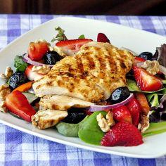 Strawberry Balsamic Walnut Chicken Salad