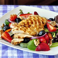 Strawberry Balsamic Walnut Salad with Grilled Lime Cumin Chicken - Rock Recipes