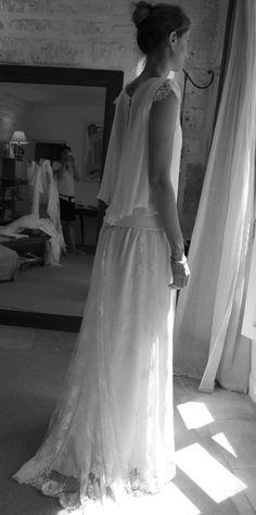 robe de mariée Gilles Zimmer jupe dentelle de Calais