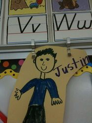 Being Respectful of our Peers: One activity that we do is create an imaginary classmate.  The class decided to name our special friend, Justin. The students know how important Justin is, and if we say or do something in any way that is unkind or unfriendly, we have to tear a tiny piece off of our paper friend.  The kids get very upset if we have to tear a piece from Justin.  I firmly believe that this truly helps the kids understand how their words impact other people's feelings.