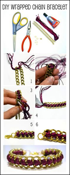 DIY Wrapped Chain Bracelet. finish with a button or a key