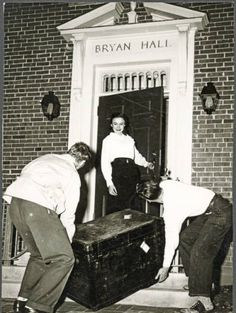 Bryan Hall move-in, 1949. Bryan Hall was built as a women's dorm to help alleviate the housing crunch in the post-WWII educational boom. It sits on University Terrace just north of Tupper Hall and the west entrance faces Mem Aud. The east side overlooks East Green.  :: Ohio University Archives