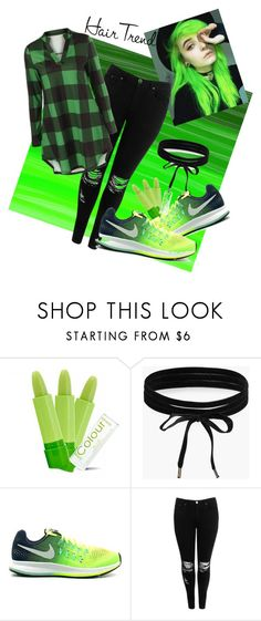 """Green"" by raegan-kirkland ❤ liked on Polyvore featuring beauty, Boohoo, NIKE, hairtrend and greenhair"