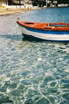 this little cove is gorgeous for swimming and has everything you would expect in a little Greek harbour town, crystal clear waters Crystal Clear Water, Greece, Swimming, Boats, Trips, Summer, Destinations, Wanderlust, Travel