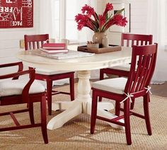Paint dining table and chairs with Rust-Oleum cranberry, COLOR with white seat pad.I could paint my kitchen table and chairs! Painted Dining Room Table, Red Dining Chairs, Oak Dining Sets, Pedestal Dining Table, Dining Table Design, Dining Room Furniture, Table And Chairs, Red Chairs, Painted Chairs