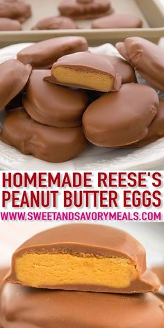 Homemade Peanut Butter Eggs are loaded with peanut butter and covered in a delicious chocolate coating peanutbutter reeseseggs easterrecipes easter sweetandsavorymeals recipevideo nobake Reese Peanut Butter Eggs, Peanut Butter Recipes, Peanut Butter Balls, Easter Peanut Butter Eggs, Peanut Butter Patties Recipe, Chocolate Peanut Butter, Peanut Butter Bon Bons, Homemade Peanut Butter Cups, Gastronomia