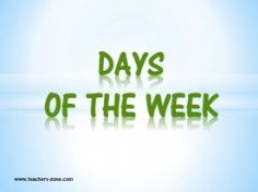 days of the week vocabulary