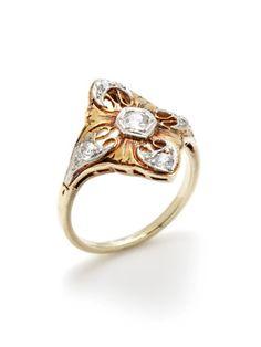 Portero Luxury Art Deco Two Tone & Diamond Geometric Ring