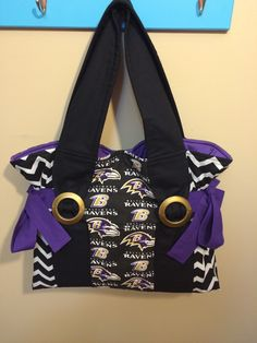 A personal favorite from my Etsy shop https://www.etsy.com/listing/226137404/nfl-baltimore-ravens-tote-purple-and