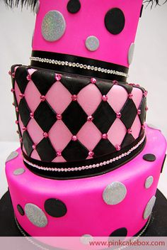 Awesome pink and black topsy turvy cake!