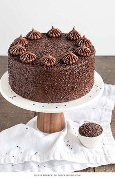 chocolate-truffle-cake-8Chocolate Truffle Cake - a chocolate layer cake recipe with dense, moist chocolate cake, silky chocolate truffle frosting and chocolate flakes | by Olivia Bogacki for TheCakeBlog.com
