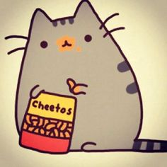 Pussheen snacking on some cheetos. He'll care about his appearance later.