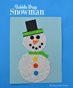 Bubble Wrap Snowman Craft - cute and easy snowman craft for kids to craft this winter!