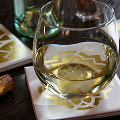 DIY Moroccan tile coasters add a hint of golden glamor to our girls' night in.