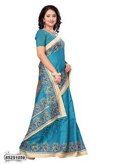 Blue  Color Bhagalpuri Silk Saree - 652S1059  #sarees #sari #look #looking #popular #offers #design #collection #offers #new #trendy #design #fashion #zinngafashion #nice #design