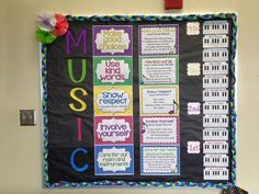 Music rules posters and songs - music room bulletin board Keyboards are cute for class management Music Class Rules, Choir Room, Classroom Rules, Classroom Ideas, General Music Classroom, Classroom Posters, Classroom Organization, Music Bulletin Boards, Music Decor