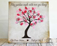 Baptism Fingerprint Tree Sign, Baptism Or Christening Guest Book Alternative, May Guardian Angels Watch Over You Always Baby Shower Fingerprint, Fingerprint Tree, Dates Tree, Guardian Angels, Guest Book Alternatives, Valentine Crafts, Valentines, Signs, Craft Stores