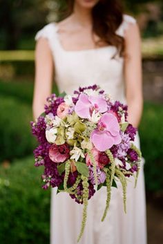 Orchids, deep purples and plum shades create unique and warm bouquets. KLK Photography #bouquets #orchid #wedding