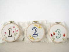 Embroidery Hoop Wedding Table Numbers with Hand Embroidered Flowers Baptism Decorations, Wedding Decorations, Marriage Day, Wedding Table Numbers, Party Items, Embroidered Flowers, Wedding Centerpieces, Coin Purse, Knitting