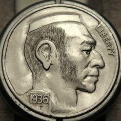 CHRISTOPHER STINNETT HOBO NICKEL - 1936 BUFFALO PROFILE Hobo Nickel, Buffalo, Classic Style, Coins, Carving, Profile, Artist, User Profile, Rooms